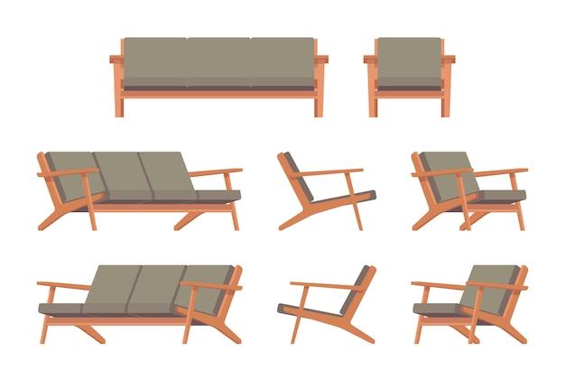 Ensemble de divan et fauteuil rétro vert Vecteur Premium