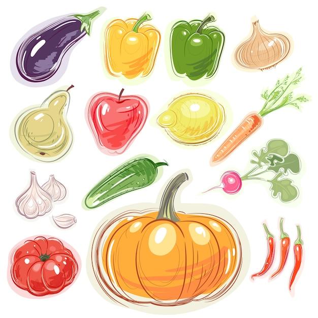 Ensemble de divers fruits et légumes. Vecteur Premium