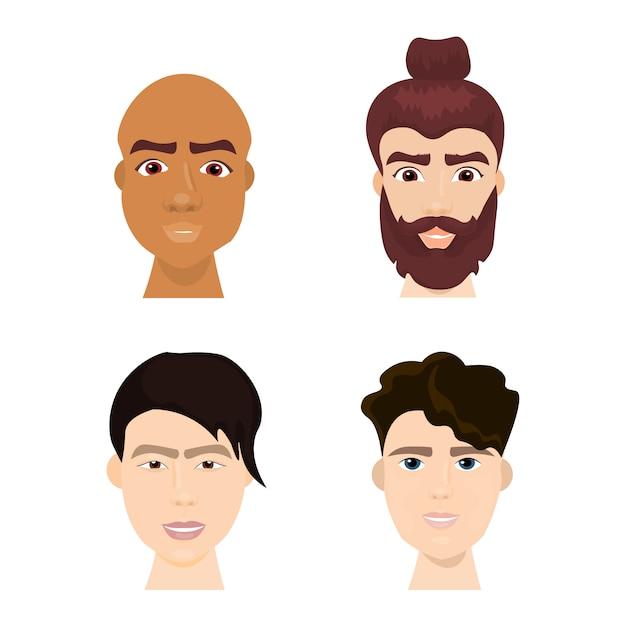 Ensemble de divers hommes hipster visages avec barbes et collection de coiffures à la mode isolé Vecteur Premium