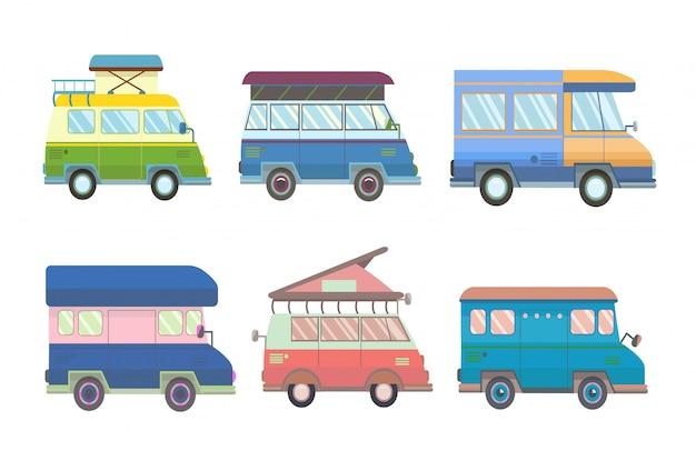 Ensemble De Divers Mini-fourgonnettes Et Camping-cars Avec Style. Illustration, Sur Blanc. Vecteur Premium