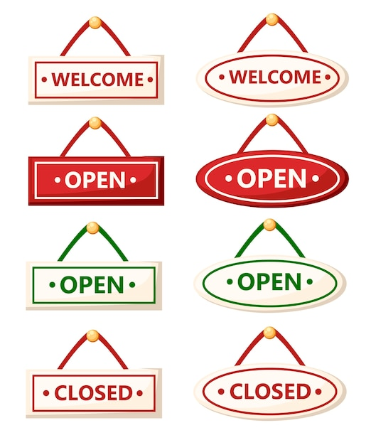 Ensemble De Divers Signes. Panneaux Ouverts Et Fermés. . Illustration Sur Fond Blanc. Page Du Site Web Et Application Mobile. Vecteur Premium
