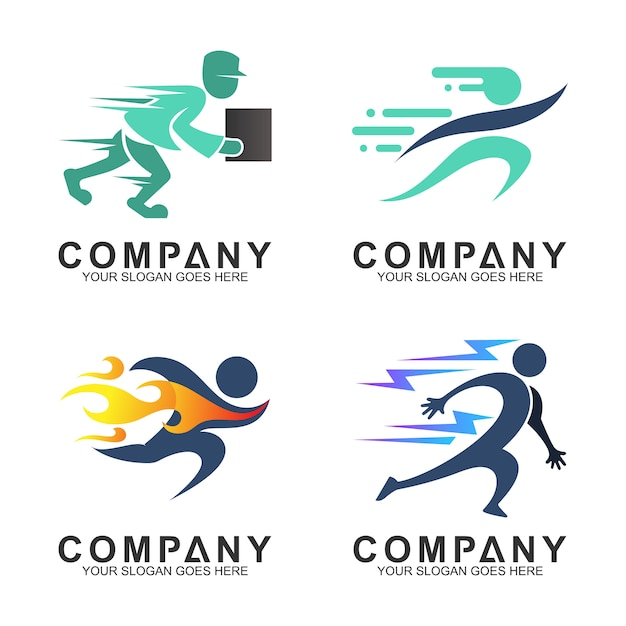 Ensemble de divers sports et logo du service de livraison Vecteur Premium