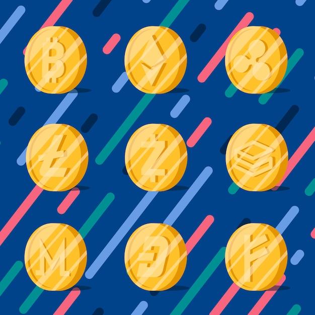 Ensemble de divers vecteur de symbole de trésorerie électronique cryptomonnaies Vecteur gratuit