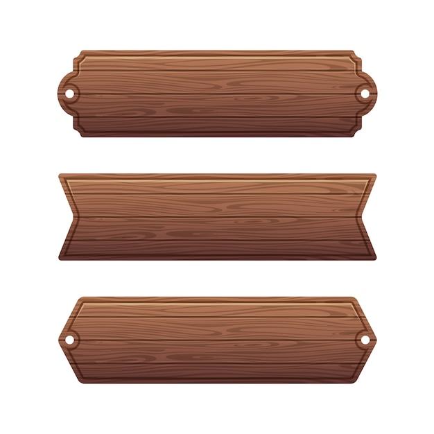 Ensemble de diverses bannières en bois Vecteur Premium