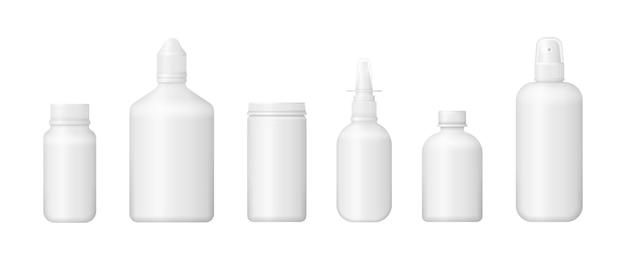 Ensemble De Diverses Bouteilles Médicales Pour Médicaments, Pilules, Comprimés Et Vitamines. Vecteur Premium