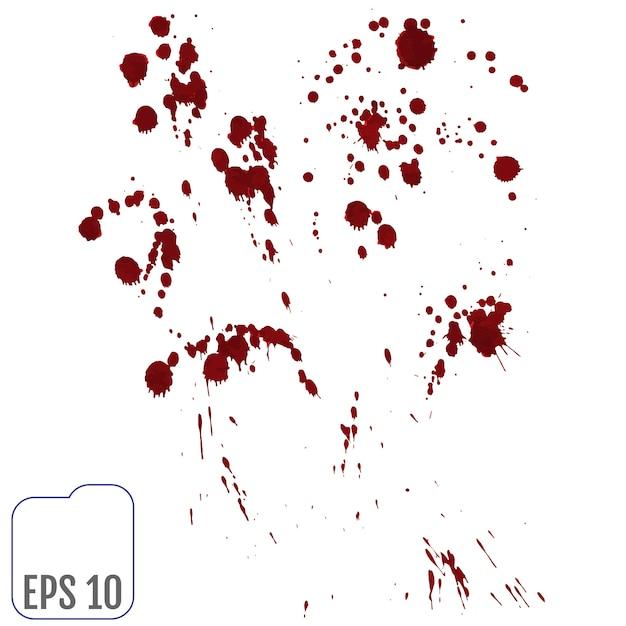 Ensemble de diverses éclaboussures de sang ou de peinture Vecteur Premium