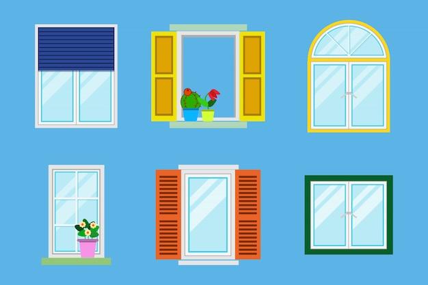 Ensemble de diverses fenêtres colorées détaillées avec rebords de fenêtre, rideaux, fleurs, balcons. Vecteur Premium