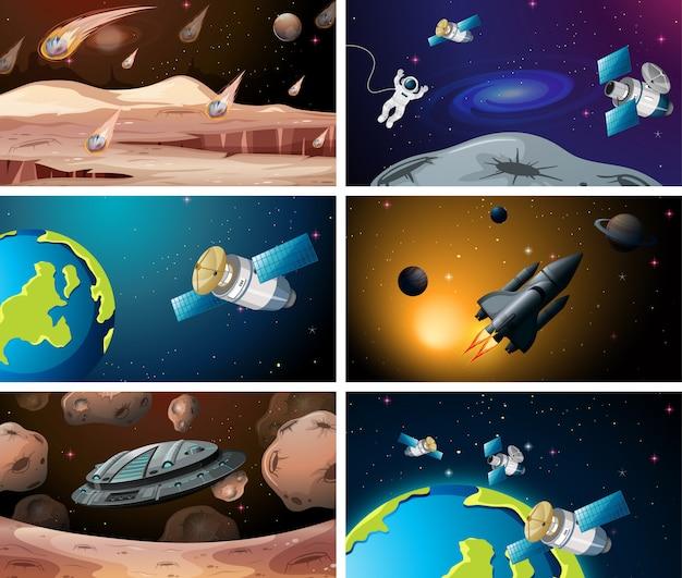 Ensemble de diverses scènes de l'espace ou de fond Vecteur gratuit
