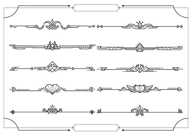 Ensemble de diviseurs en bordure, éléments de design décoratif vectoriels Vecteur Premium