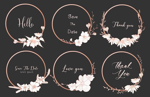 Ensemble de diviseurs ronds cadres, fleurs dessinées à la main. Vecteur Premium