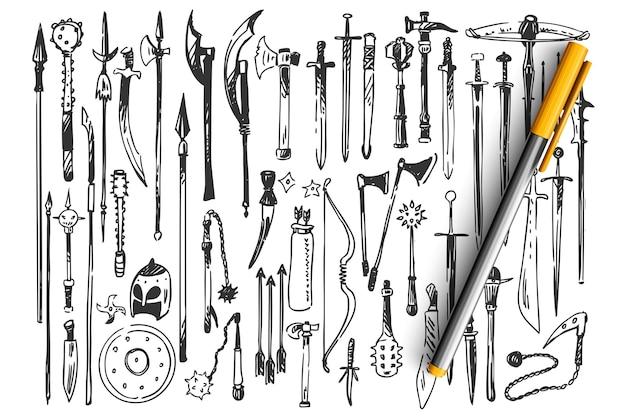 Ensemble De Doodle D'armes Vecteur Premium