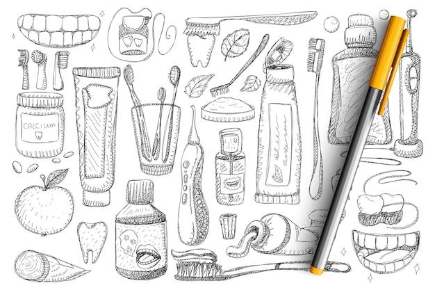 Ensemble De Doodle Hygiène Dentaire Et Santé. Collection De Brosse à Dents Dessinés à La Main, Dentifrice, Fil Dentaire, Dents Et Sourire Blanc Isolé. Vecteur Premium