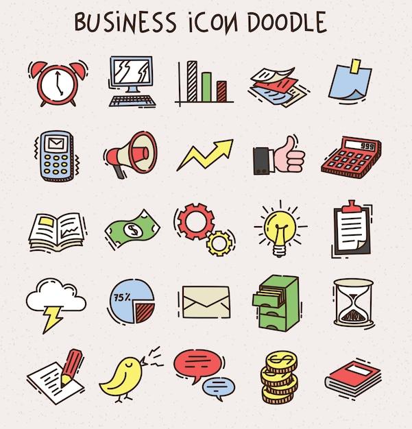 Ensemble De Doodle D'icône Affaires Vecteur Premium