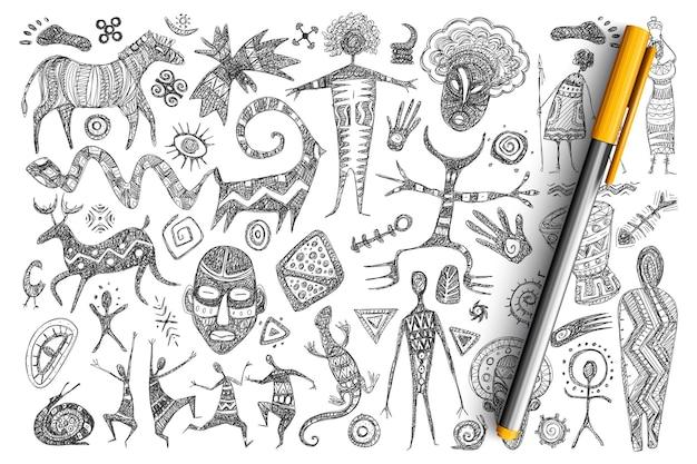 Ensemble De Doodle De Symboles Africains Antiques. Collection De Masques Dessinés à La Main, D'hommes Dansants, D'animaux, De Reptiles, De Symboles Sacrés, De Dieux Et De Signes Isolés. Vecteur Premium
