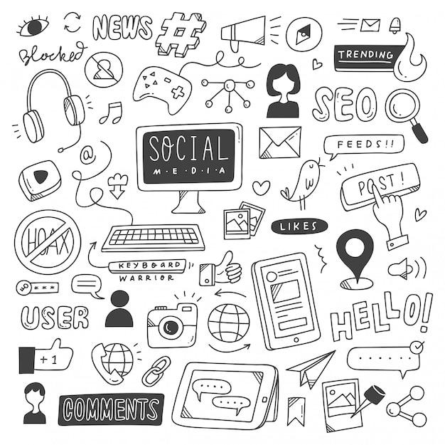 Ensemble de doodles de médias sociaux Vecteur Premium