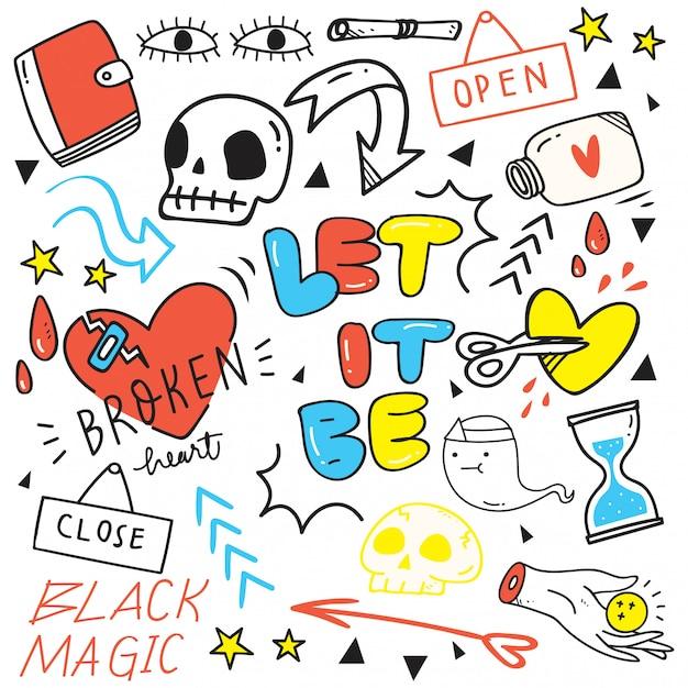 Ensemble de doodles mignons dessinés à la main Vecteur Premium