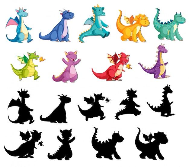 Ensemble de dragon mignon Vecteur gratuit