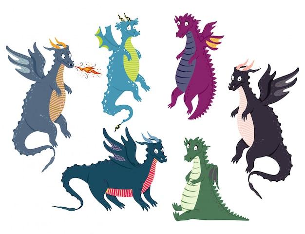 Ensemble de dragon mignon Vecteur Premium