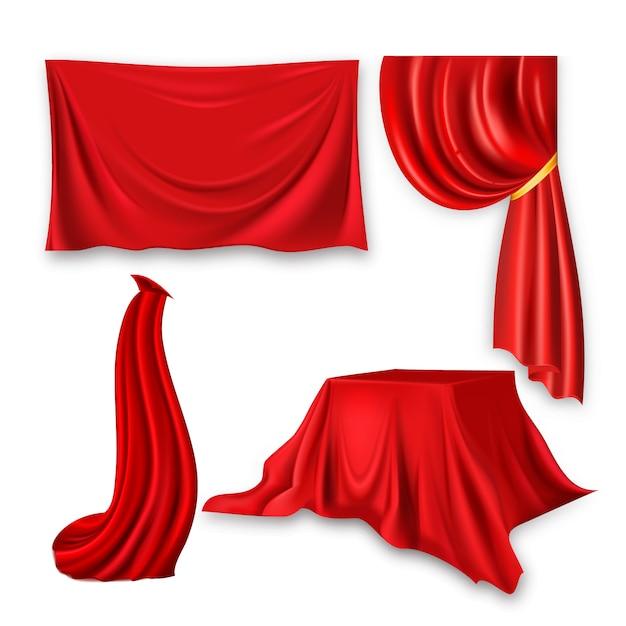 Ensemble de drap de soie rouge. tissu tissu forme agitant Vecteur Premium