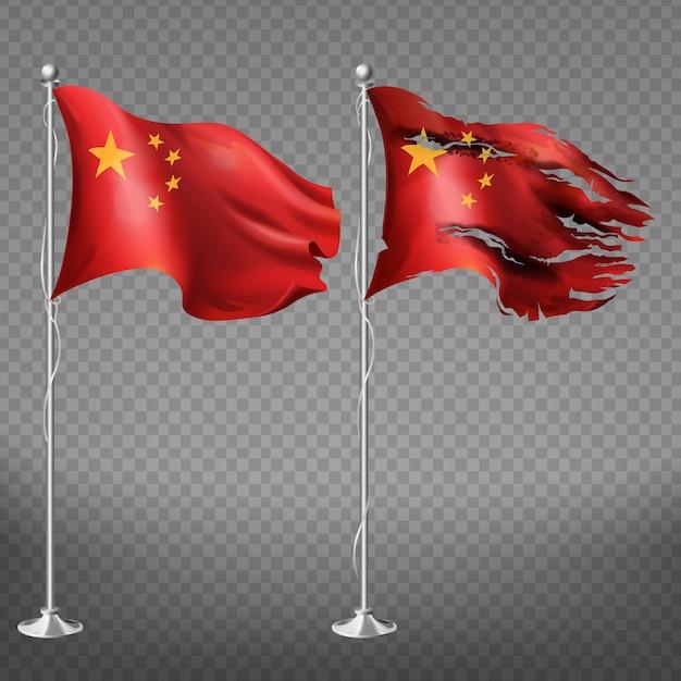 Ensemble de drapeau chinois de bords endommagés neufs et déchiquetés, agitant une toile nationale avec des étoiles jaunes Vecteur gratuit
