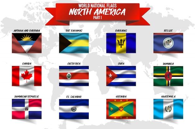 Ensemble De Drapeau National Du Pays Amérique Du Nord Sur Fond De Carte Mondial. Vecteur Premium