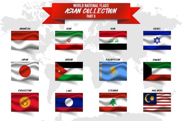 Ensemble De Drapeau National Du Pays Asiatique Sur Fond De Carte Mondial. Vecteur Premium