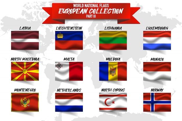 Ensemble De Drapeau National Du Pays Européen Sur Fond De Carte Mondial. Vecteur Premium
