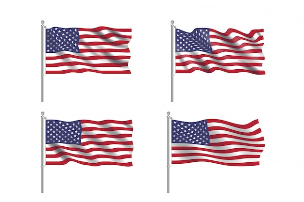 Ensemble De Drapeau Usa. Collection De Drapeaux Américains Se Déplaçant Dans Le Vent En Vecteur Vecteur Premium