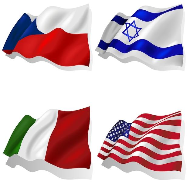 Ensemble de drapeaux ondulés Vecteur Premium