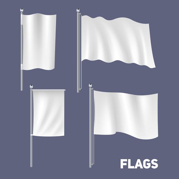 Ensemble de drapeaux réalistes Vecteur gratuit