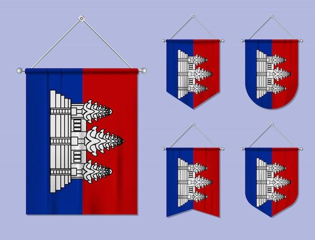 Ensemble De Drapeaux Suspendus Cambodge Avec Texture Textile. Formes De Diversité Du Pays Du Pavillon National. Fanion De Modèle Vertical. Vecteur Premium