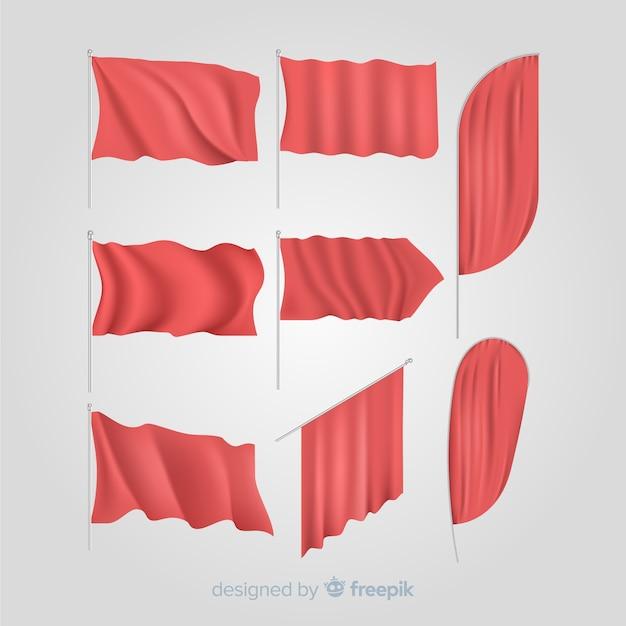 Ensemble de drapeaux textiles rouges Vecteur gratuit