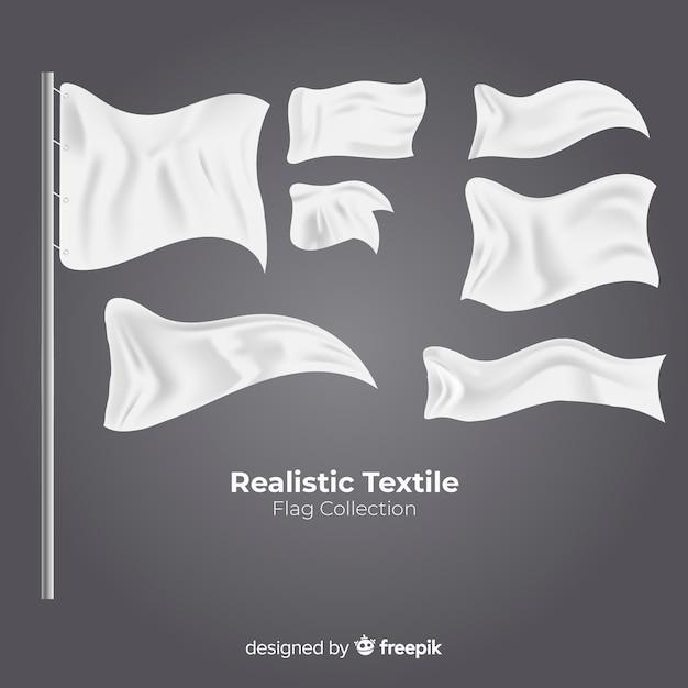 Ensemble de drapeaux textiles Vecteur gratuit
