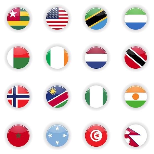 Ensemble de drapeaux Vecteur Premium