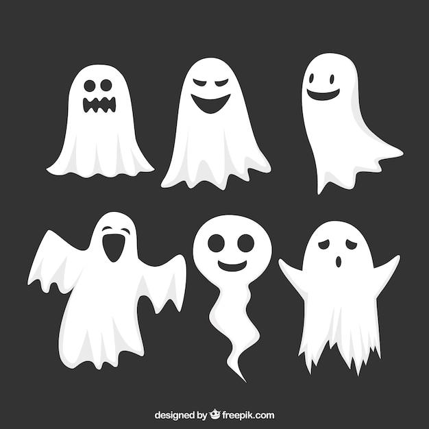 Ensemble drôle de fantômes de halloween Vecteur gratuit
