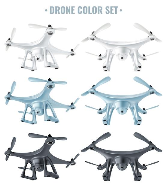 Ensemble de drones réalistes Vecteur gratuit