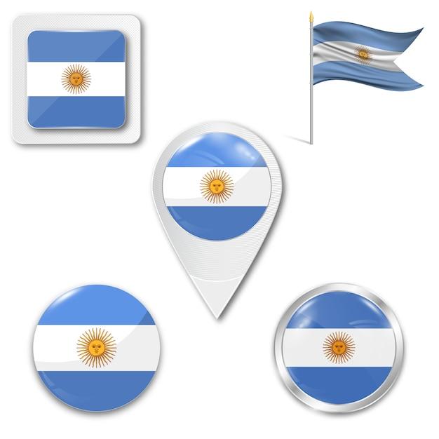 Ensemble du drapeau national de l'argentine Vecteur Premium