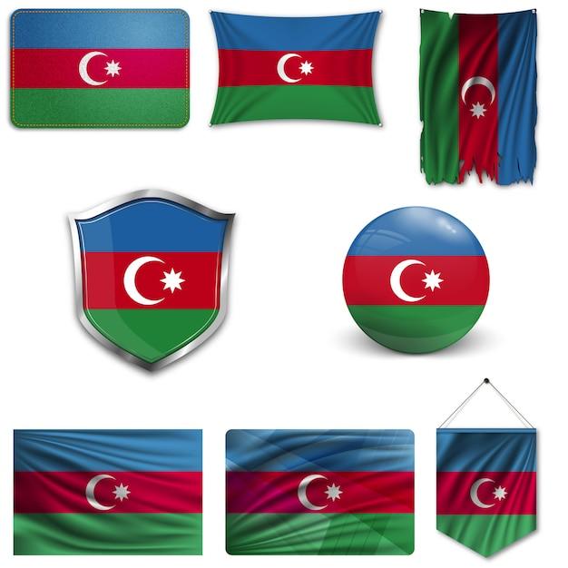 Ensemble du drapeau national de l'azerbaïdjan Vecteur Premium