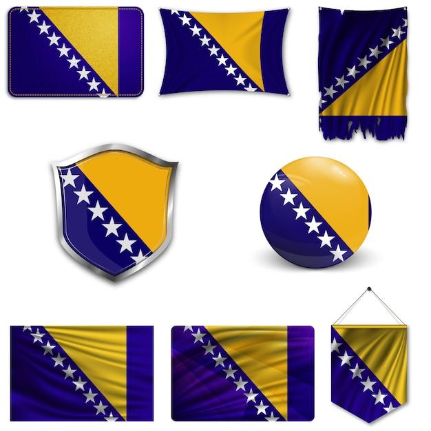 Ensemble du drapeau national de bosnie-herzégovine Vecteur Premium