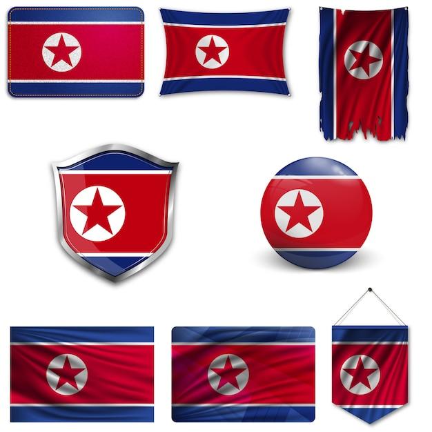 Ensemble du drapeau national de la corée du nord Vecteur Premium