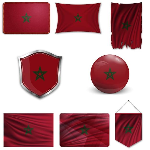 Ensemble du drapeau national du maroc Vecteur Premium