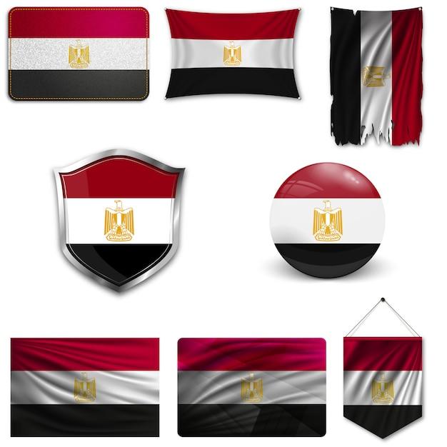 Ensemble du drapeau national de l'egypte Vecteur Premium