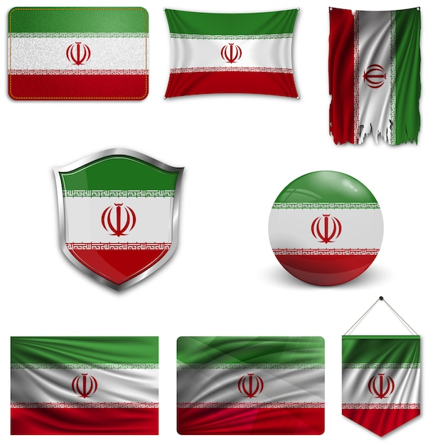 Ensemble du drapeau national de l'iran Vecteur Premium