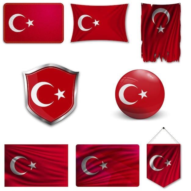 Ensemble du drapeau national de la turquie Vecteur Premium