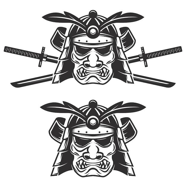 Ensemble Du Masque De Samouraï Avec Des épées Croisées Sur Fond Blanc. éléments Pour, étiquette, Emblème, Signe, Marque. Illustration. Vecteur Premium