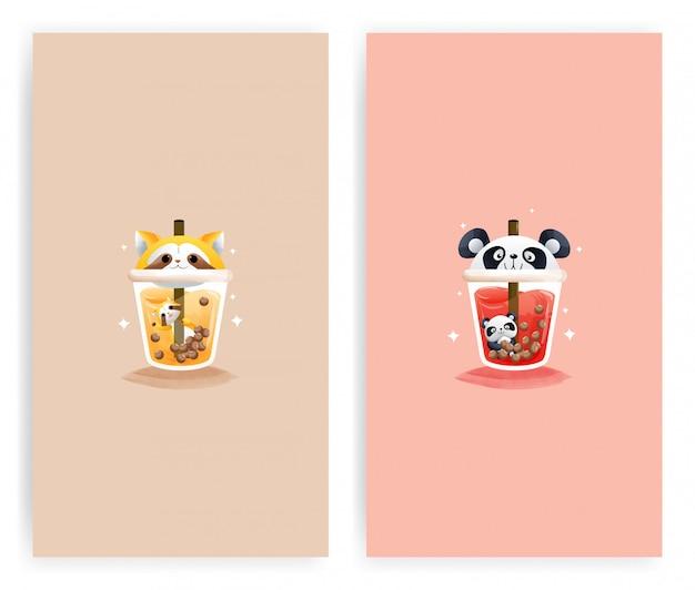 Ensemble Du Verre Modèle De Raton Laveur De Jus D'orange Et Du Verre De Jus De Pastèque Avec Panda. Vecteur Premium
