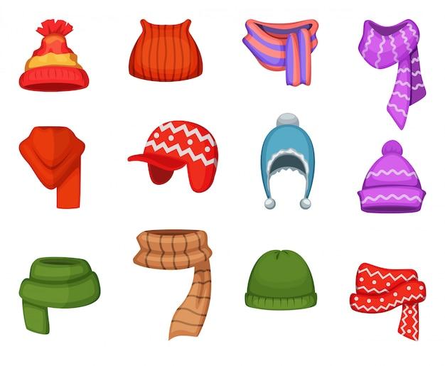 Ensemble d'écharpes d'hiver et casquettes de couleurs et de styles différents Vecteur Premium