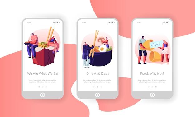 Ensemble D'écran à Bord De La Page De L'application Mobile Asian Food. Vecteur Premium