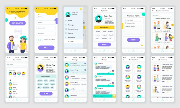 Ensemble d'écrans d'interface utilisateur, ux et gui, app de réseau social plat Vecteur Premium