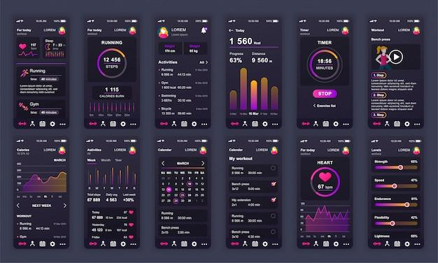 Ensemble d'écrans d'interface utilisateur, ux et gui fitness app flat Vecteur Premium